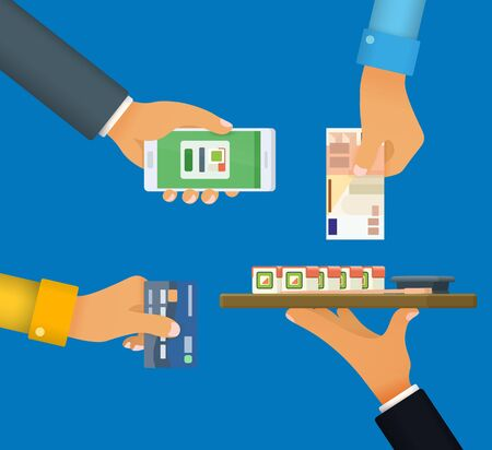 cashless payment: Cashless and cash payment Vector illustration Illustration