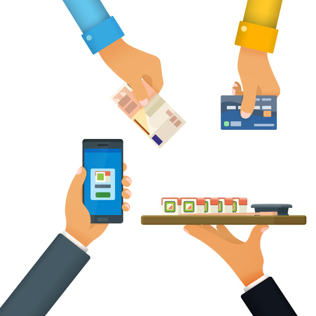 Cashless and cash payment Vector illustration Фото со стока - 81296927