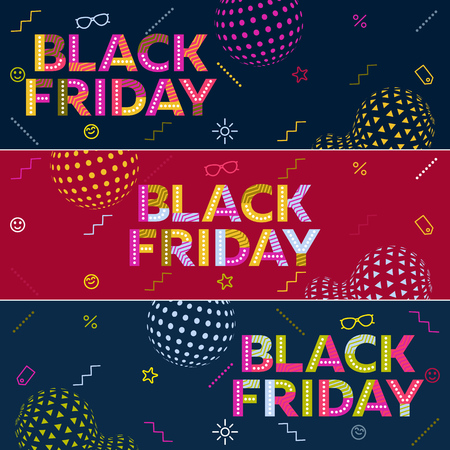 A set of Black friday sale banners. Special discounts. Poster Sale. The original inscription. Modern banner in the memphis style. Template for advertisement. Vector illustration Stock Vector - 81296931