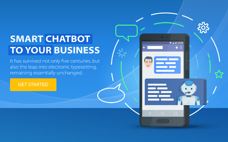 Chatbot business concept. Modern banner for the site. Chatbot and future marketing concept. Dialog box of mobile phone. Smartphone on a blue background. Vector illustration