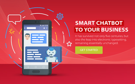 Chatbot and future marketing concept. Modern banner for the site. Dialog box of mobile phone. Chatbot business concept. Smartphone on a red background. Vector illustration Фото со стока - 81296954