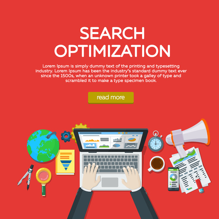 Web analytics elements and marketing. Website development, search engine optimization. Workplace expert in SEO. Manager top view workplaces flat vector illustration. Template for advertising, posters.