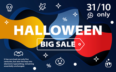 Halloween sale banners. Curved color lines. Special offer. Great autumn discounts. Template for site and advertising. Colorful background with icons. Vector illustration Illustration