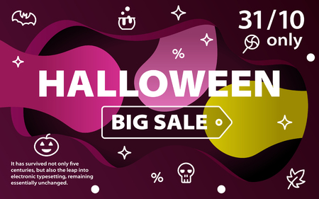 Halloween sale banners. Colorful background with icons. Curved color lines. Special offer. Template for site and advertising.Vector illustration