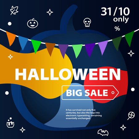 Halloween sale banners. Great autumn discounts.  Curved color lines. Special offer. Template for site and advertising. Colorful background with icons. Vector illustration