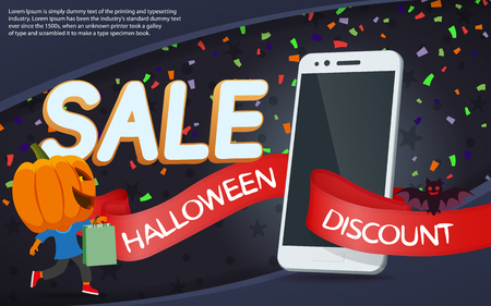 Halloween sale banners. Great autumn discounts. Smartphone, bright ribbon and confetti. Banner with gray background. Man with a pumpkin head vector flat illustration. Funny halloween personage. Illustration