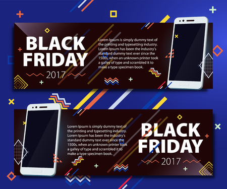 Black Friday sale banner set. Poster Sale. Template in memphis style. Fashionable and modern banners for advertising. White modern smartphone on a black background. Vector illustration