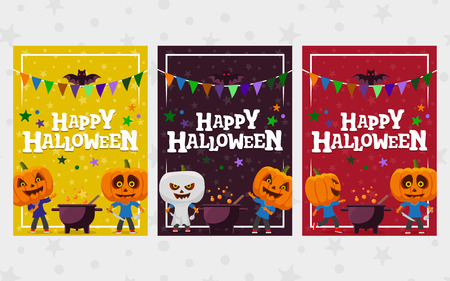 Halloween greeting cards. Set of banner in a flat style. Man with a pumpkin head vector flat illustration. festive ribbon. Funny halloween personage. Templates for the invitation, advertising, poster.