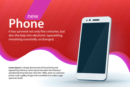 White modern smartphone on a red background. Sale and discounts banner design. Modern background with a gradient and curved colored lines. Template for advertising and poster. Vector illustration.
