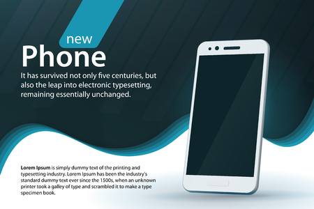 White modern smartphone on a gray background. Sale and discounts banner design. Modern background with a gradient and curved lines. Template for advertising and poster. Vector illustration. Illustration