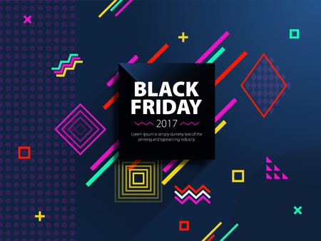 Black friday sale web banner. Fashionable and modern banner for advertising. Black square on a blue background. Poster Sale. Template in memphis style. Vector illustration