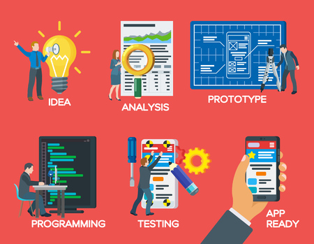 Modern illustration of business project startup process. Mobile app development process. Set of icons in a flat style. Project idea, analysis, prototype, programming, testing. Vector illustration