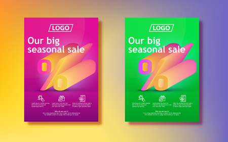 Big seasonal sale. 3d percent sign with a gradient. Abstract colored gradients background. Vertical poster design for print or web, media, promotional material. Final sale poster or flyer design.