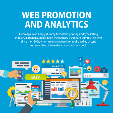 Web promotion and analytics of information. Communication and services, marketing and research, information, statistics and analysis. Infographics elements and icons. Vector illustration in flat style Illustration