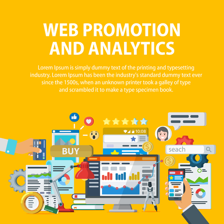 Web promotion and analytics of information. Internet commerce, social networks, interaction with users. Statistics, audit and analysis. Infographics elements and icons. Vector illustration. Illustration