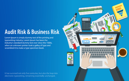 Auditing and business concepts. Hands of a man on a laptop keyboard. Tax process. Research, accounting, analysis, data, project management, planning. Top view of the workplace. Vector illustration Illustration