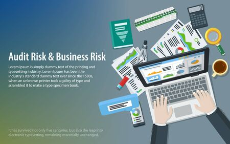 Auditing and business concepts. Research, accounting, analytics, data, project management, planning. Top view of the workplace. Hands of a man on a laptop keyboard. Tax process. Vector illustration
