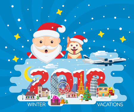 Merry Christmas banner in flat style. Traveling in time of vacation by plane. Year of the dog. The winter holiday. Flat Santa Claus. Happy New Year 2018. Europe winter town vector illustration