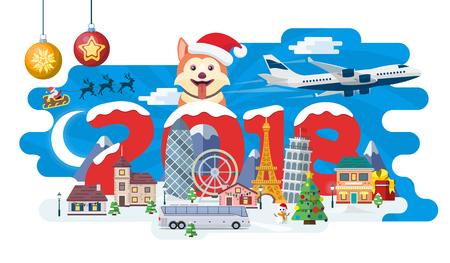 New Year and winter travel background. Christmas travel, Europe winter town, snow village. Traveling by plane and bus. The winter vacation. Flat Santa Claus. Year of the dog. Vector illustration Illustration