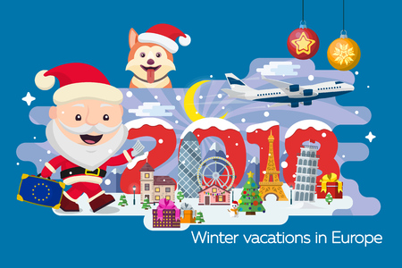 Merry Christmas banner. Traveling in time of vacation by plane. Travel to Europe. Year of the dog. The winter holiday. Santa Claus with a suitcase and tickets in hands. Happy New Year 2018 Illustration