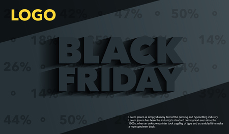 Black Friday. Sale and discounts banners templates design. An inscription with a long shadow on a gray background. Template for advertising banner and poster. Vector illustration.