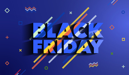 Black Friday. Sale and discounts fashion banner. A bright template in the memphis style. An inscription with a long shadow on a blue background. Template for advertising. Vector illustration.