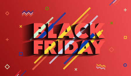 Black Friday. Sale and discounts fashion banner. Background with colored lines. A bright template in the memphis style. An inscription with a long shadow on a red background. Vector illustration. Illustration