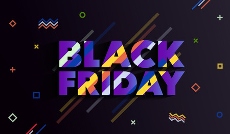 Black Friday. Sale and discounts fashion banner. An inscription with a long shadow. Background with colored lines. A bright template in the memphis style. Vector illustration.