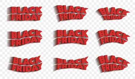 Black Friday. Sale and discounts banners templates design. A set of inscriptions with a shadow. The letters are red color. Template for advertising banner and poster. Vector illustration. Illustration