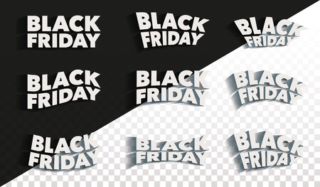 Black Friday. Sale and discounts banners templates design. A set of inscriptions with a shadow. Isolated letters are white color. Template for advertising banner and poster. Vector illustration.