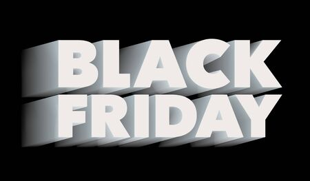 Black Friday. Sale and discounts banner template design. The inscription with a long shadow. Isolated letters are white color. Template for advertising banner and poster. Vector illustration. Illustration