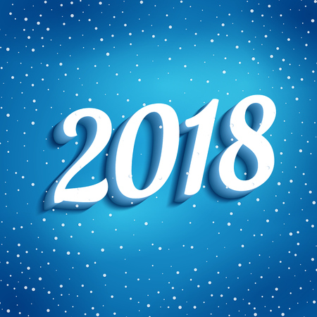 Happy New Year 2018. Blue background with blurred light for Merry Christmas party. Greeting card and advertising design template. Handwritten numbers 2018 with shadow. Vector illustration. Illustration
