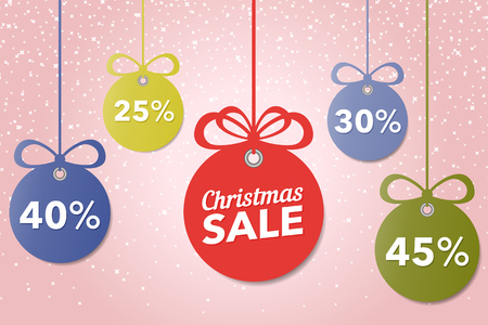 Christmas and New Years sale. Beautiful discount and promotion colored Christmas balls. Special offer vector tag. New year holiday card template. Shop market poster design. Vector illustration. Illustration