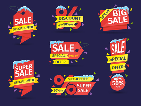 Set of red colored stickers and banners. Sale tags with snow caps and icicles. Discount and promotion banners. Advertising element. Vector illustration. Illustration