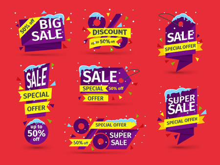 Set of blue colored stickers and banners. Sale tags with snow caps and icicles. Advertising element. Discount and promotion banners. Vector illustration.