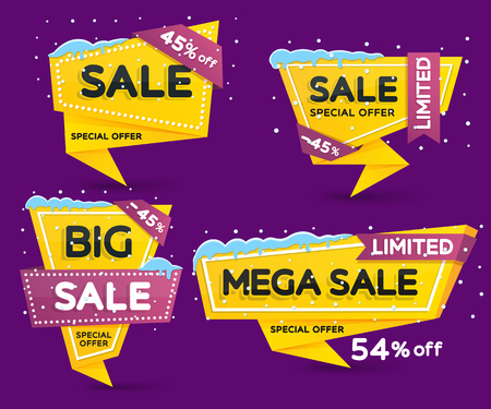 Christmas and New Years sale. Discount and promotion banners. Set of yellow colored stickers and banners. Sale tags with snow caps and icicles. Advertising element. Vector illustration. Illustration