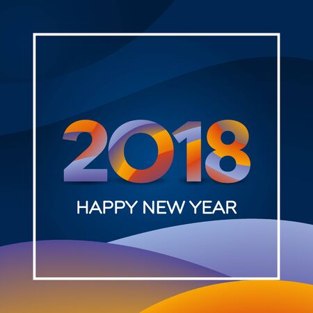 Happy New Year 2018 text design. Greeting card design template. New year holiday card template. Material design colors. Numbers with a gradient. Vector illustration.
