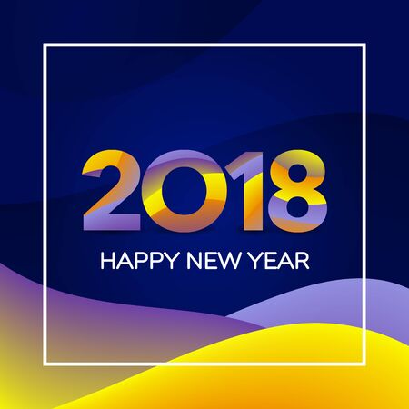 New year holiday card template. Happy New Year 2018 text design. Greeting card design template. Material design colors. Numbers with a gradient. Vector illustration.