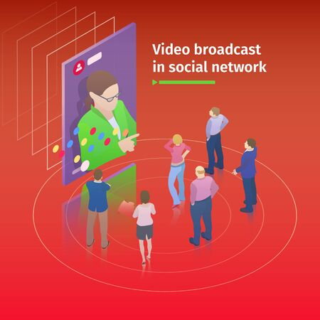 Video streaming on smartphone. Flat 3d isometric design concept. People watch a video broadcast on the screen. Video broadcast in social network. Watch online videos. Vector illustration.