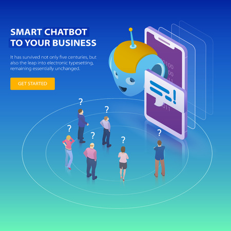 Chatbot and future marketing concept. Flat 3d isometric design concept. People ask questions for the chatbot. Chatbot business concept. Modern banner for the site. Vector illustration. Фото со стока - 90663635