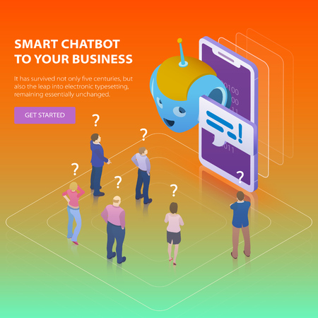Chatbot and future marketing concept. Flat 3d isometric design concept. People ask questions for the chatbot. Chatbot business concept. Modern banner for the site. Vector illustration.