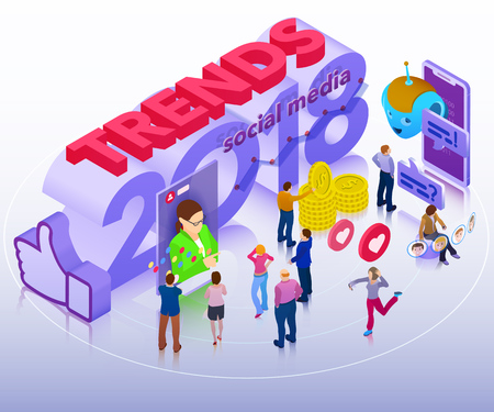 Trends in social media 2018. Chatbot, video broadcast, stories, SMM promotion, online analytics. People in social network. Inspiration concept template layout, diagram. Flat 3d isometric banner.