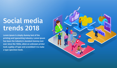 Trends in social media 2018. Chatbot, video broadcast, stories, SMM promotion, online analytics. People in social network. 3d puzzle pieces. Flat 3d isometric banner. Website banner templates. Illustration