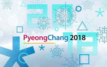Winter sports games in PyeongChang 2018. Light blue abstract background. Sports competitions in South Korea, February 2018. Design for banner. Symbols of sports competitions.