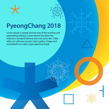 Winter sports games in Republic of Korea 2018. Colorful abstract background with space for text. Sports competitions in South Korea, February 2018. Symbols of sports competitions.