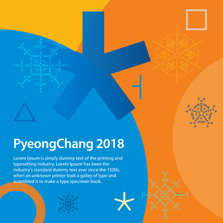 Winter sports games in PyeongChang 2018. Winter sports games in Republic of Korea 2018. Colorful abstract background. Design for banner. Symbols of sports competitions. Illustration