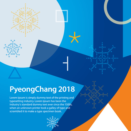 Winter sports games in Republic of Korea 2018. Symbols of sports competitions. Colorful abstract background with space for text. Sports competitions in South Korea, February 2018.
