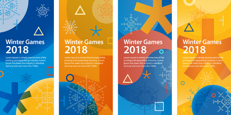 Winter sports games in Republic of Korea 2018. Set of vertical banners for advertising or web. Sports competitions in South Korea, February 2018. Symbols of sports competitions. Illustration