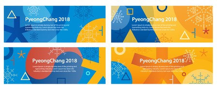 Winter sports games in PyeongChang 2018. A set of banners for advertising or a site. Sports competitions in South Korea, February 2018. Symbols of sports competitions.