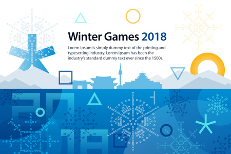 Winter sports games in Republic of Korea 2018. Symbols of sports competitions. Colorful abstract background for advertisement, poster, flyer or web banner.